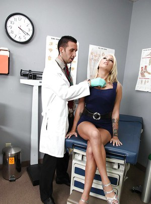 Blonde with big tits Lylith Lavey shows hardcore sex at the doctor's