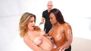 Pornstars with big tits Kayla Paige and ebony Jada Fire have groupsex