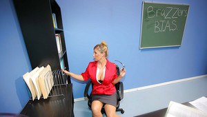 Kissable teacher MILF Devon Lee with big tits has sex at school