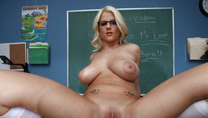 Schoolgirl Haley Cummings with big tits strips to show her cunt