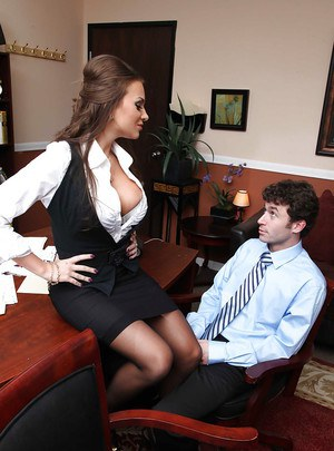 Crazy about dicks Nika Noire with big tits is fucked at work