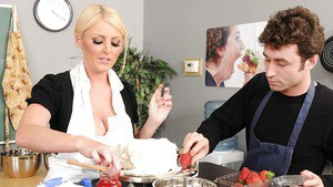 Big titted blonde Sophie Dee fucks huge cock in a cooking school