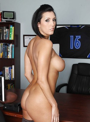 Beauteous teacher Dylan Ryder stripping at work and showing big breasts