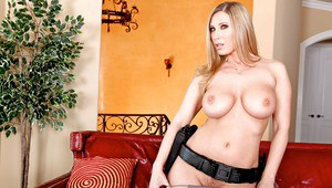 Horny MILF Devon Lee with big tits takes off uniform and spreads pussy