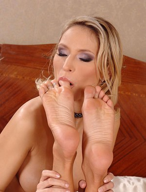 Superb lesbians are into foot worship and touching each other