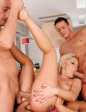 Sexy blonde Angie Angel gets double penetrated and ass fucked in orgy