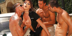 Sexy lady cop Gabriella May gangbanged by three horny studs outdoor