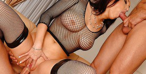 Busty MILF in fishnet stockings Lea Magic enjoys hot anal groupsex
