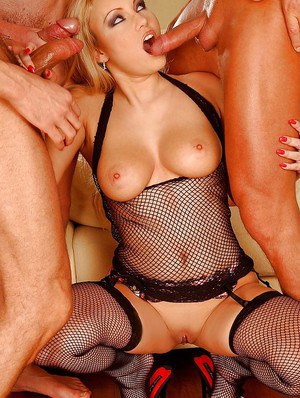 Busty babe is into groupsex with wild cock sucking and anal sex