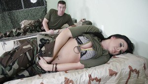 Sexy babe in military uniform Jackie Daniels got her slit drilled