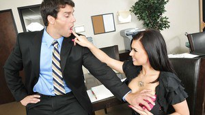 Beauteous brunette with huge boobs Eva Angelina fucking in the office