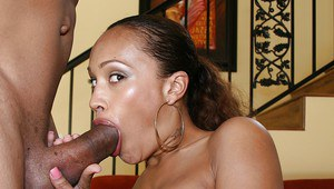 Black babe Cassidy Clay with big tits strips and fucking a dick
