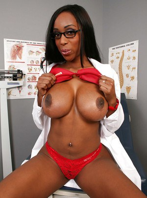 Ebony babe in glasses Codi Bryant strips off doctor's uniform