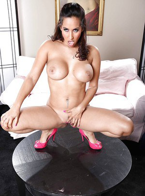 Hot MILF with big tits takes off her panties and shows her amazing ass