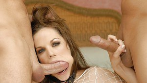 Filthy Bobbi Starr is into double penetration while having groupsex