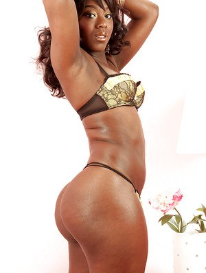 Ebony Janea Jolie with a tight big booty poses in hot underwear