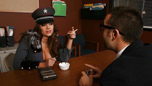Slutty Nika Noire with big hooters is spread on the desk to be fucked