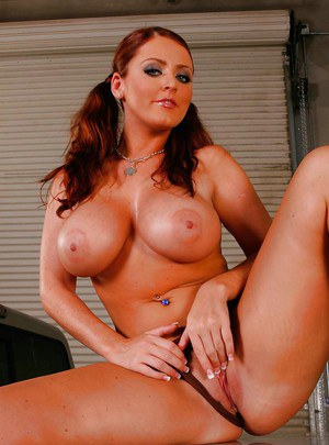 Chubby redhead in uniform Sophie Dee strips naked to play with pussy