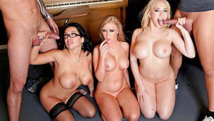 Sienna West and Kagney Linn Karter in school uniform have a threesome