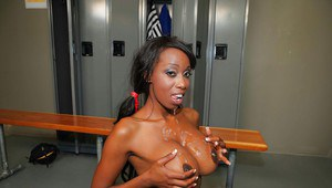 Big titted ebony beauty Codi Bryant fucking her twat off