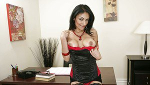 Sexy Latina babe takes off her lingerie right on the office desk