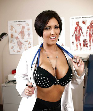 Naughty babe Dylan Ryder takes off uniform to show her big tits