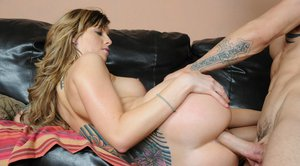 Tattooed sexy babe Tricia Oaks is getting a hard cock in her asshole