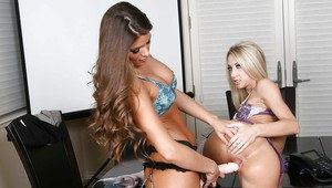 Lesbians Sammie Rhodes and Madelyn Marie fuck hardcore in the office