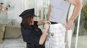 Busty lady cop in stockings Claire Dames takes hardcore anal fucking