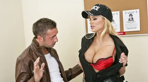 Hot lady cop Shyla Stylez arrests a guy and makes him fuck her pussy