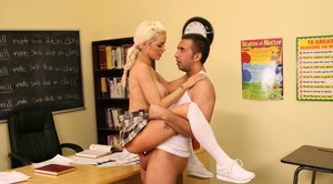 Big titted babe with pigtails Delta White stays after lessons to fuck