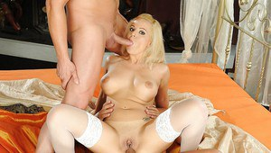 Hot babe Queen Christin shows her sexy holes in a gangbang