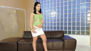 Cute Naomie in miniskirt gets undressed and shows her clit