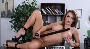 Slutty babe Jenna Presley with big hooters gets dirty in the office