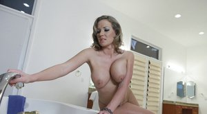 Big titted MILF Nikki Sexx in hot lingerie has wild sex in the bath