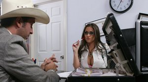 Rachel RoXXX in uniform and glasses gets dirty with a big dick