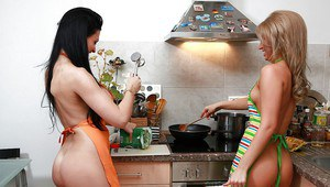 Pornstars Aletta Ocean and Aleska Diamond cook naked in the kitchen