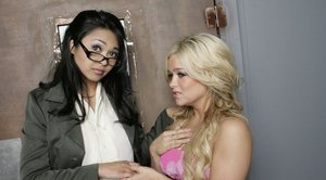 Asian babe Mika Tan strips for interracial fucking in the office