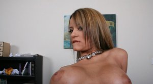 Big titted MILF Jodi Bean spreads her gloryhole in the office