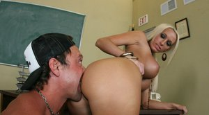 Teacher with huge boobs Lichelle Marie pushing a boner in her cunt