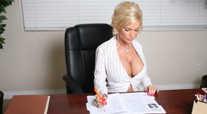 MILF babe with big tits Diamond Foxxx has rough sex in the office