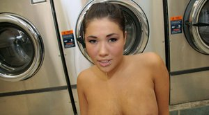 Asian babe with big hooters London Keye has wild sex in the laundry