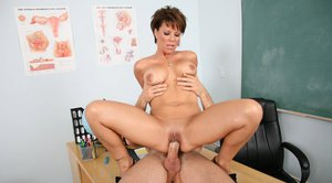 MILF teacher Kayla Synz does a titjob and has a cock in her cunt