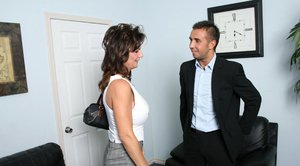 Mature Deauxma gets naked for a double penetration sex in the office