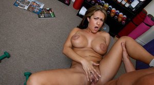 Busty babe Trina Michaels has a massive cock in her tiny rosebud