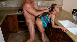 Slutty MILF with a tight booty Shayla Leveaux is fucking a huge dick