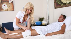 Blonde babe in hot uniform Jessica Lynn has a cock in her eager cunt