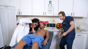 Slutty doctor Ricki Raxxx with big boobs doesn't miss a chance to fuck
