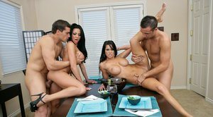 Slutty wives Savannah Stern and Audrey Bitoni enjoy hardcore groupsex