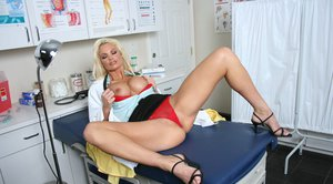 MILF babe Rhylee Richards posing solo in doctor's uniform and naked
